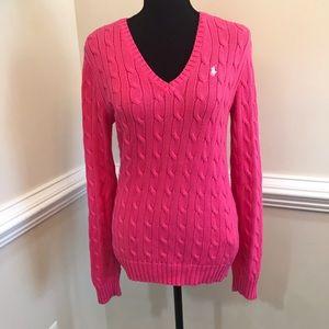 EUC Polo Ralph Lauren Cable Knit V Neck Sweater